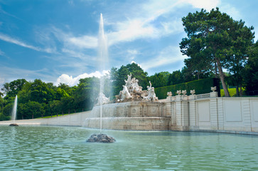 Fountain in the park of Schloss Schönbrunn, Vienna Austria