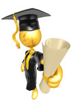 Gold Guy Graduate With Diploma