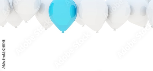 Air balloons isolated on white. Blue and grey series
