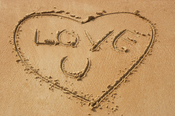 Love you on sandy beach