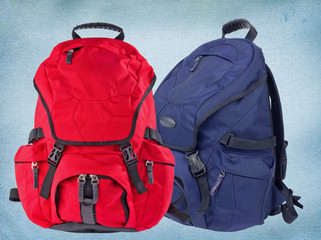 Red and blue modern backpacks