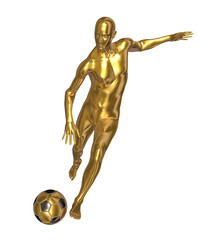 Golden statue of football player