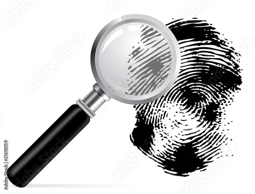 Magnifier with scaned fingerprint