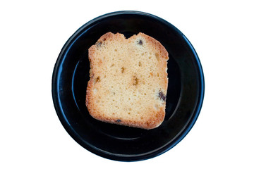 Bread in a black dish