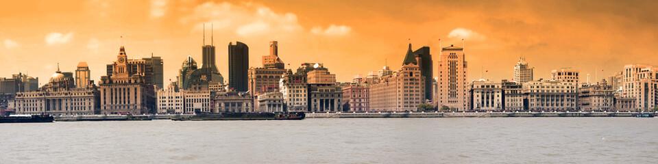 Panorama du Bund et du fleuve Huangpu - Shanghai China