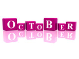 october in 3d cubes poster
