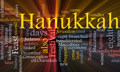 Hanukkah word cloud glowing
