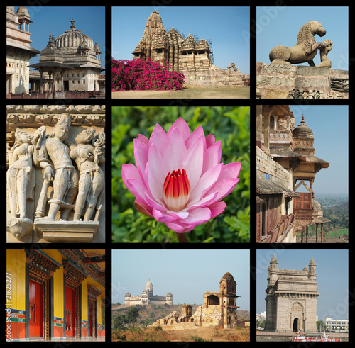 Go India collage - background with travel photos of Indian landm
