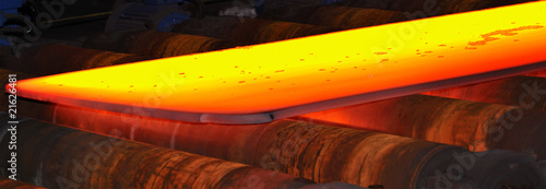 hot steel on conveyor..