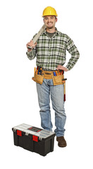 standing handyman with spirit level