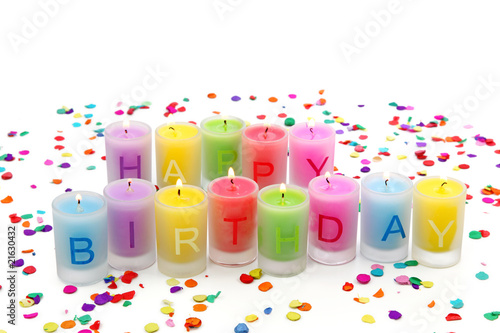 Birthday candles isolated on white background
