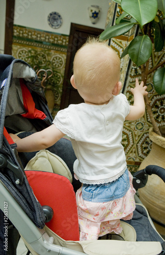 toddler standing in a pram on walk