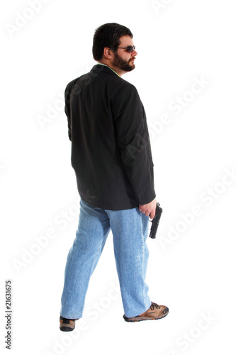 man with gun and sunglasses