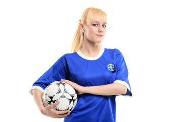 A view of a female soccer player isolated on white background