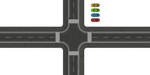 Kreuzung von oben mit freigestellten Autos