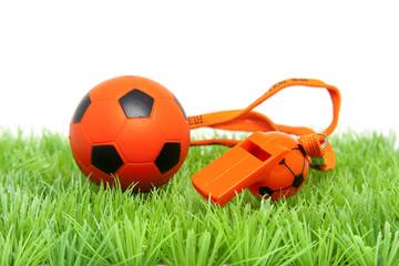 Orange soccer ball and flute