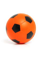 Orange soccer ball over white background