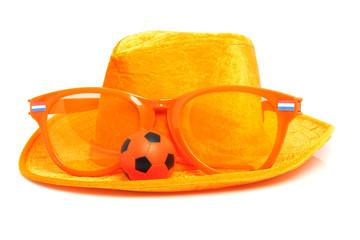 orange soccer accessory over white background