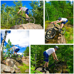The collage of four photos bike extreme tricks