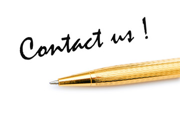 Pen and contact us message on white