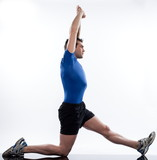 stretching workout posture by a man on studio white background poster