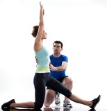 stretching posture by a couple, on studio white background