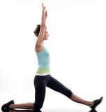 stretching workout posture by a woman on studio white background poster