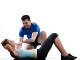 COUPLE on floor Abdominals workout posture on white background