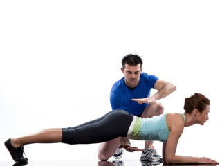 couple, on Abdominals workout  posture on white background