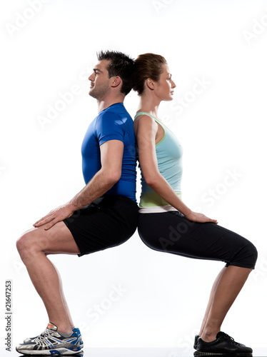 couple doing workout on white isolated background