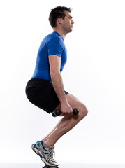 man doing workout squat on white isolated background