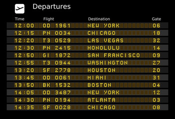 Departure board - editable travel vector illustration