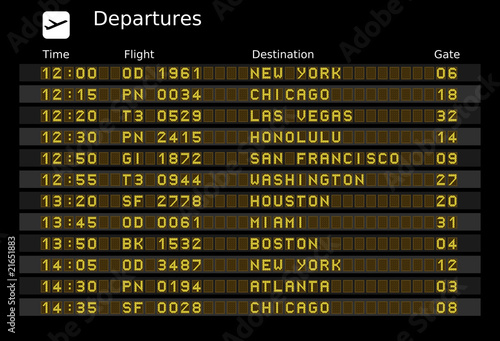 Departure board - editable travel vector illustration - 21651883