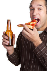 Man With Pizza and Beer