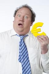homme étonnement argent euro symbôle