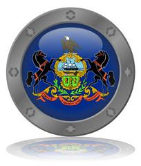 State of Pennsylvania Flag Web Button (USA America Vector)