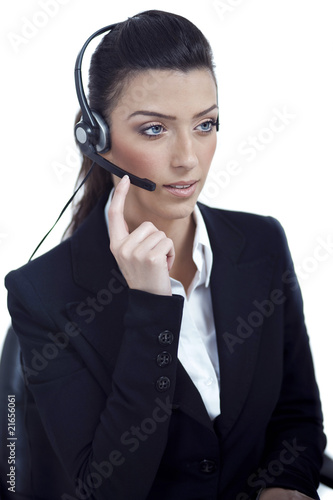 Beautiful call center telephone woman wearing headset