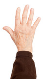 Old woman's hand on white background