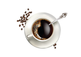coffee in white cup with a spoon and coffee beans