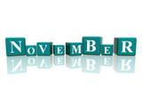 november in 3d cubes poster