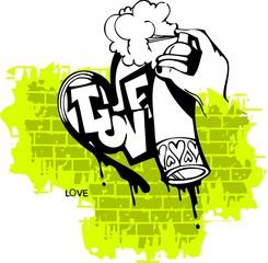 Graffiti -Love end Heart.Vector Illustration. Vinyl-Ready.