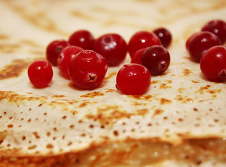 pancake with cranberry closeup