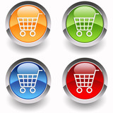 Four E-commerce glossy icons poster