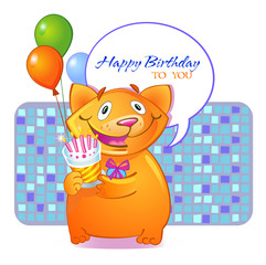 Birthday cat (greeting card for boy)