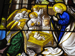 The Nativity on a medieval 16th century stained glass window
