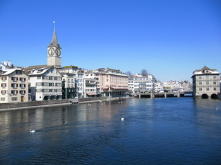 Zurich - Limmat and St. Peterskirche