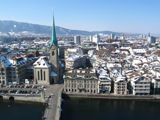 Zurich - view on the Fraumuenster from Grossmuenster