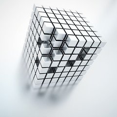 Abstract bright metallic cubes on a light background
