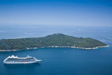 Cruise Liner moored off Dubrovnik