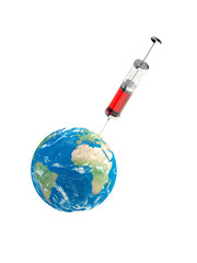 Earth with syringe